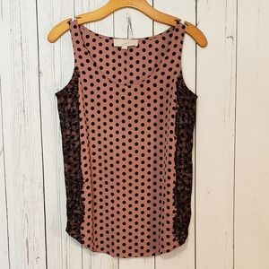 Loft Polka Dot and Lace Top Blouse Sleeveless S